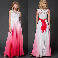 Роскошное вечернее платье. Белое с красным, 6 цвета. Р-ры: 42-44 и 46-48.