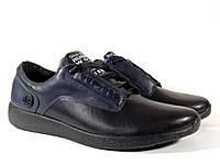 Мужские кроссовки Flex 437351 чёрные с синим, натуральная кожа