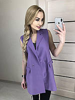 Женский стильный пиджак-кардиган без рукавов, фото 1
