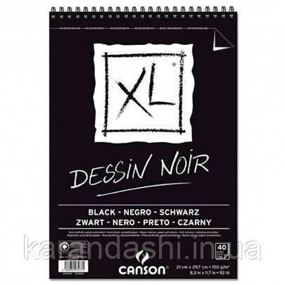 Альбом для графики и рисунка Canson XL Dessin Black (Черные листы) 40л, 150 г, А4 на спирали, фото 2