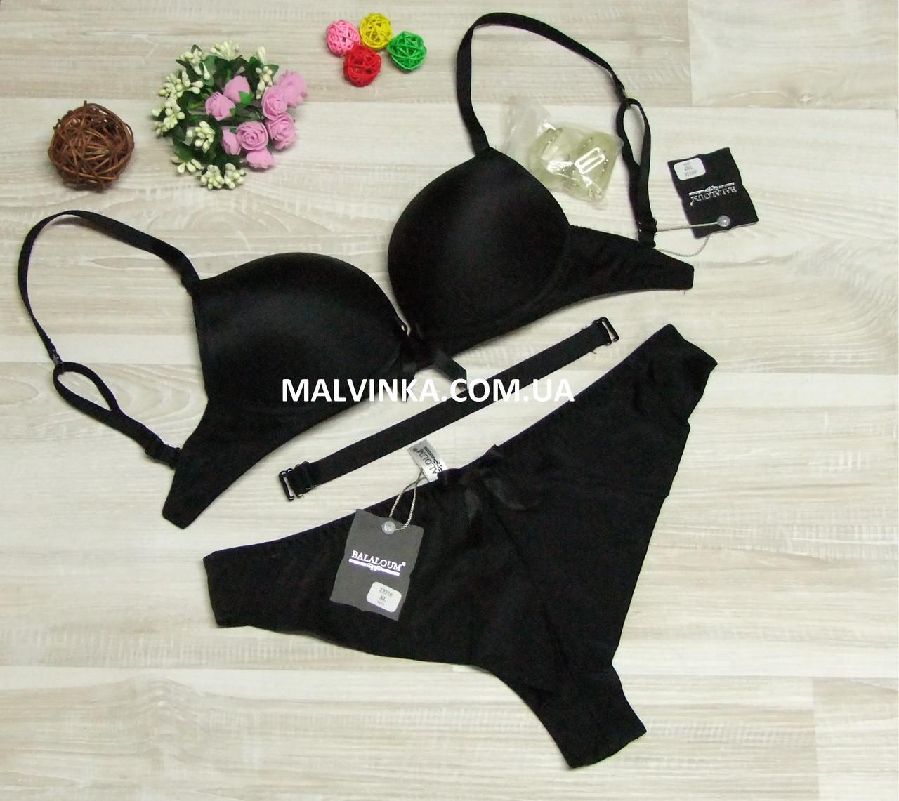 45f189aa5559 Комплект пуш-ап Balaloum арт 9316 черный(силиконовая спинка) 70В трусы XL -