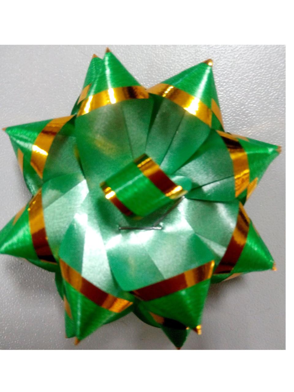Бантик зелёный с золотой окантовкой