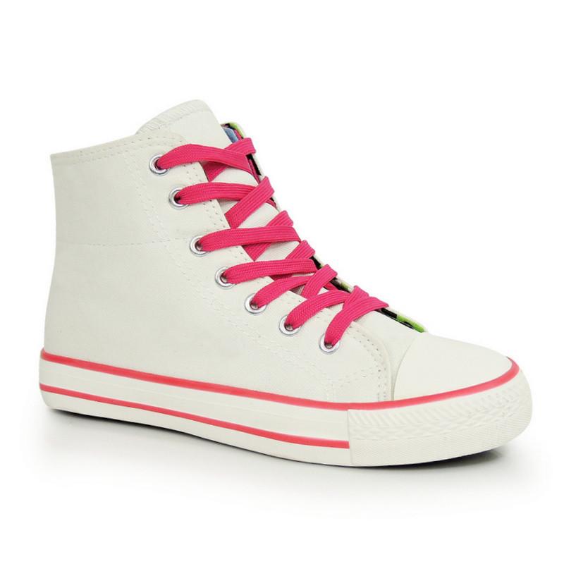 Высокие кеды белые с розовыми шнурками - Naff.com.ua- товары для всей 1176caf9df8