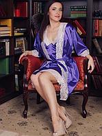 Женский халат с белым ажуром