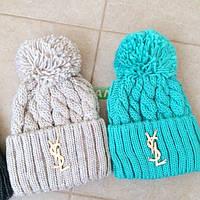 Женская шерстяная вязанная шапка YSL (реплика), много расцветок, фото 1