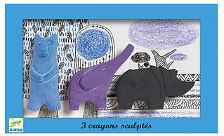 Набір фігурної пастелі Djeco Ведмідь Слон, Носоріг