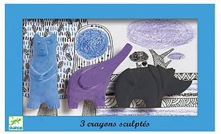 Набор фигурной пастели Djeco Медведь Слон Носорог