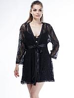 Женский кружевной халат черного цвета, фото 1