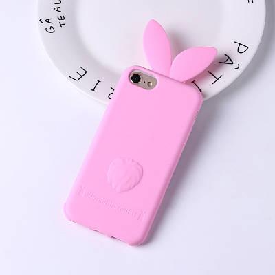 ЧехолнакладканаiPhone5/5s/se розовый,заичьиушки, силиконовый