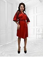 Шикарный велюровый  красный халат с кружевами длинный