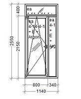 Балконная дверь Комфорт Таун 1160х2590 REHAU Euro-Design 70 с энергоэффективным стеклопакетом