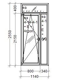 Балконная дверь Комфорт Таун 1160х2590 REHAU Euro-Design 70 с энергоэффективным стеклопакетом, фото 1