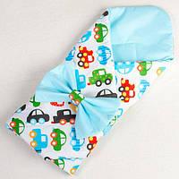 Конверт на выписку для новорожденных летний BabySoon Разноцветные машинки 80 х 85 см (021), фото 1