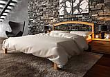 Ліжко півтораспальне з натурального дерева в спальню, дитячу Британія з ковкою (Вільха) ДОК , фото 5