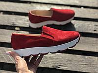 Слипоны №340-1654 красный замш, фото 1