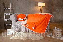 """Теплый плед с подушкой (для детей), комплект """"Лисенок"""". Размер L"""