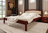 Ліжко півтораспальне з натурального дерева в спальню, дитячу м'яке узголів'я (Вільха) 140х200 Британія М ДОК, фото 2
