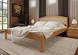 Ліжко півтораспальне з натурального дерева в спальню, дитячу м'яке узголів'я (Вільха) 140х200 Британія М ДОК, фото 3
