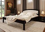 Ліжко півтораспальне з натурального дерева в спальню, дитячу м'яке узголів'я (Вільха) 140х200 Британія М ДОК, фото 4