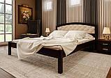 Ліжко півтораспальне з натурального дерева в спальню, дитячу м'яке узголів'я (Вільха) 140х200 Британія М ДОК, фото 5