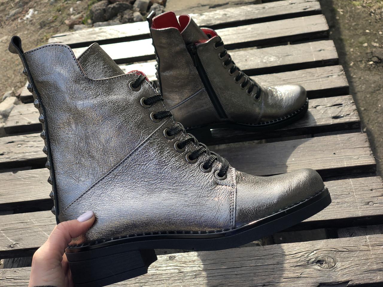 Ботинки №462-4 никель кожа (брук гвозди) + шипы