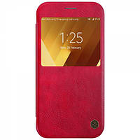 Кожаный чехол-книжка Nillkin Qin Series для Samsung  A320 Galaxy A3 (2017) red