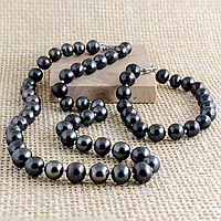Жемчуг черный, Ø9 мм., комплект бусы и браслет, 058КМЖ