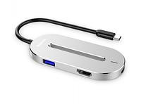 Адаптер Baseus O HUB Type-C to (HDMI + Type-C + USB 3.0) Silver