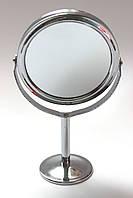 Зеркало металлическое настольное двухстороннее (круглое),h-15 см.