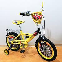 """Детский велосипед TILLY Автогонщик 16"""" (T-216213 yellow + black) с багажником"""