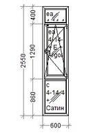 Окно ПВХ REHAU Ecosol 60  Комфорт Таун на балкон 600х2610 стеклопакет 4/10/4/10ar/4i