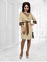 Велюровый халат Аннушка с кружевами короткий