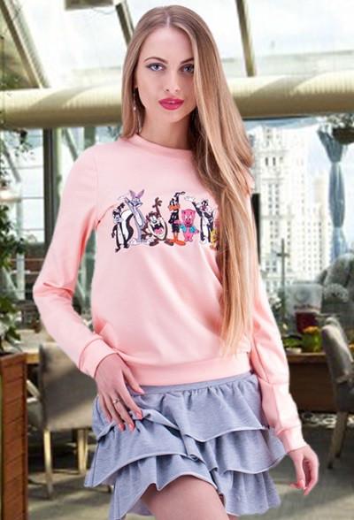 Свитшот с вышивкой мультяшками розовый