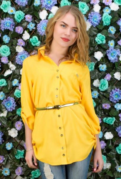 Желтая рубашка с поясом