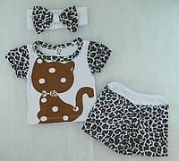 """Детский костюм для девочки """"Котик Лео"""". Футболка, шорты, повязка"""