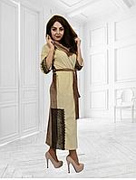 Велюровый халат Аннушка с кружевами длинный