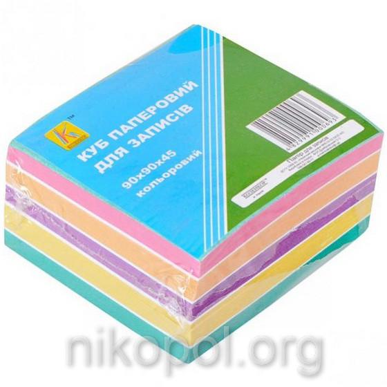 Бумага для заметок 500 листов, блок 90x90мм, цветная
