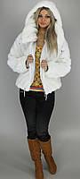 Шубка искуственая женская короткая с капюшоном М121 недорого белая