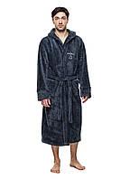 Махровый халат мужской - 5407 темно серый