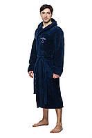Махровый халат мужской - 5408 темно синий