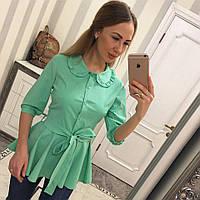 Женская блуза из бенгалина с поясом и круглым воротником 3313107