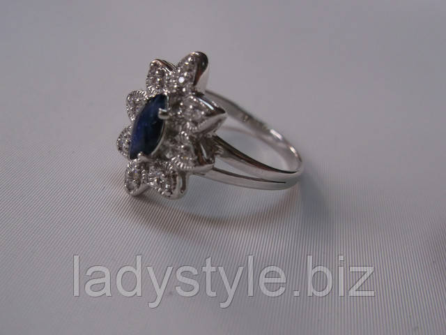 купить кольцо с сапфиром украшения сапфир  леди стиль серебряные кольца