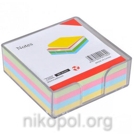 Бумага для заметок 300 листов, блок 85x85мм, в боксе