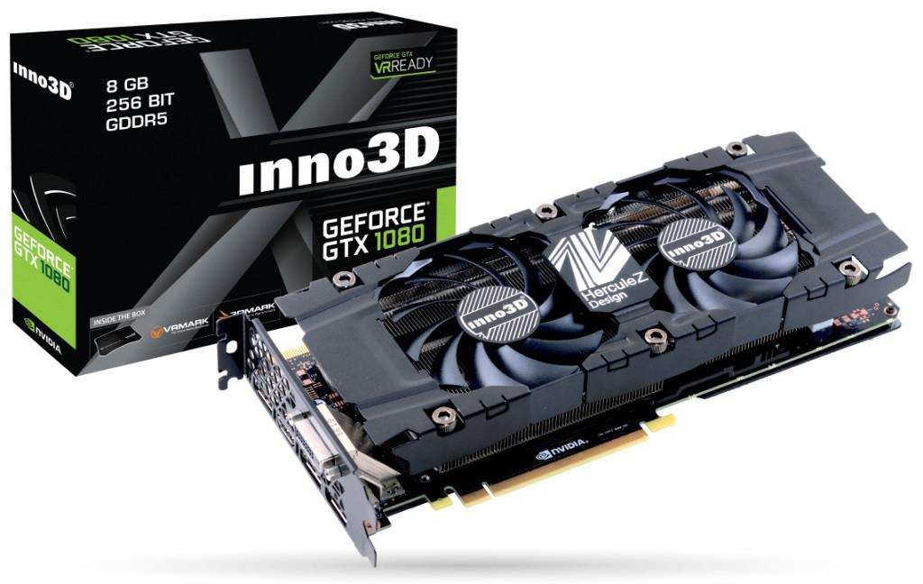 """Видеокарта Inno3D GTX1080 HerculeZ Twin X2 8GB GDDR5X 256bit (N1080-1SDN-P6DN) """"Over-Stock"""" Б/У"""