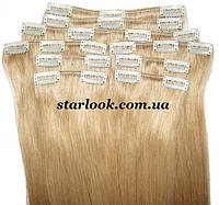 Набор натуральных волос на клипсах 38 см. Оттенок №23. Масса: 100 грамм.