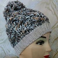 Молодежная женская шапка с бубоном Лион (Lyon) TM Loman, полушерстяная, цвет коричневый меланж, р-р 55-57