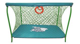 Манеж детский игровой KinderBox люкс Бирюзовый слоник  с крупной сеткой (km 5512)