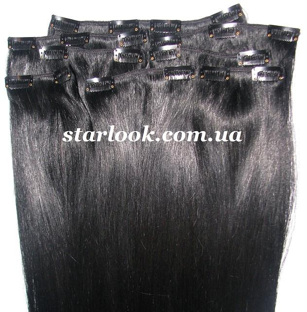 Набор натуральных волос на клипсах 50 см оттенок №1 160 грамм