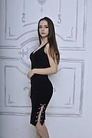 Платье без рукава с цепочкой в черном цвете ( АК-016 )
