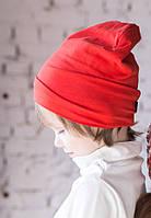Детская шапка бини. Красный. Все размеры от 44 см., фото 1